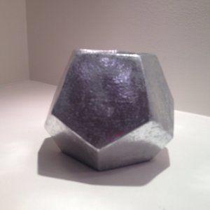 Ceramic Silver Painted Hexagonal Home Decor Pot